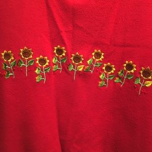Quacker Factory red top with sunflowers 3X